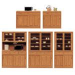 ラバーウッド無垢材の食器棚ナチュラルシリーズ